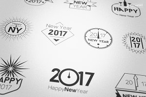 New Year 2017 Badges Logos