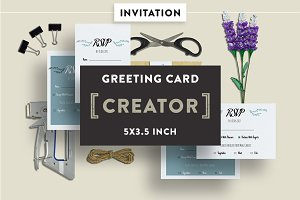 Invitation Card Mockups 5x3.5 In