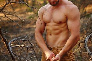 Lumberjack chop branches.