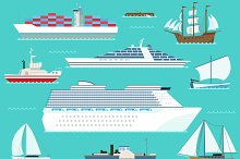 Water ship transport vector set