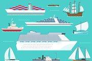 Water ship transport vector set