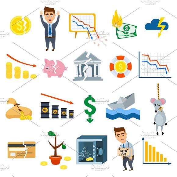 Crisis symbols concept vector