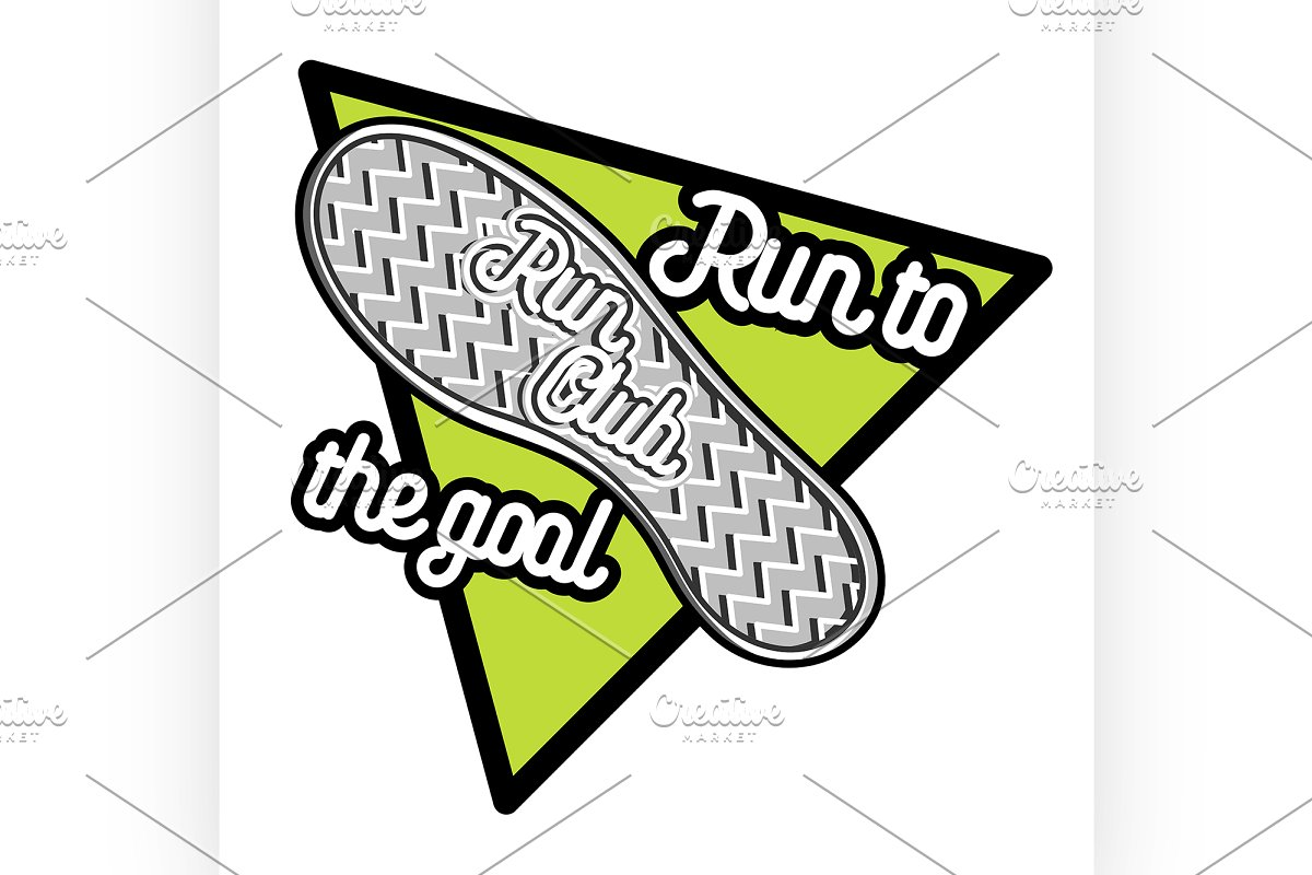 Color vintage run club emblem in Illustrations