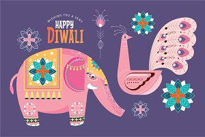 deepavali/ diwali elements vector
