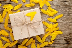 Sunflower petals and gift box
