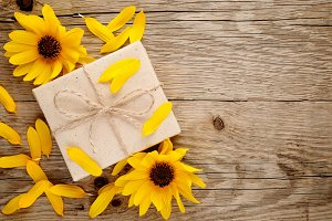 Ornamental sunflowers and gift box