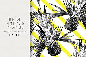 Palm leaves, pineapples pattern