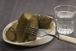 Salted cucumbers and vodka