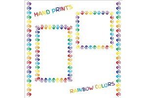 Frames with rainbow color hand print