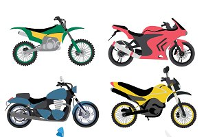 Motorcycles ride sport vector set