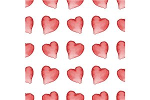 3 Patterns with watercolor redhearts