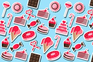 Confectionery flat collage