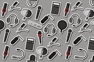 Different microphones types collage