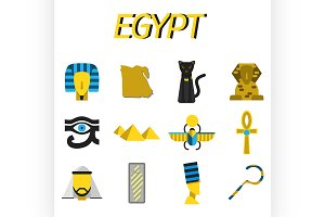 Egypt flat icons set