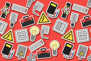Electricity flat icons collage