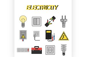 Electricity flat icons set