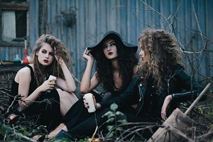 Three vintage witches gathered for the Sabbat