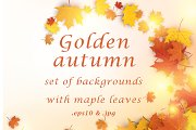 Autumn cards set with maple leaves