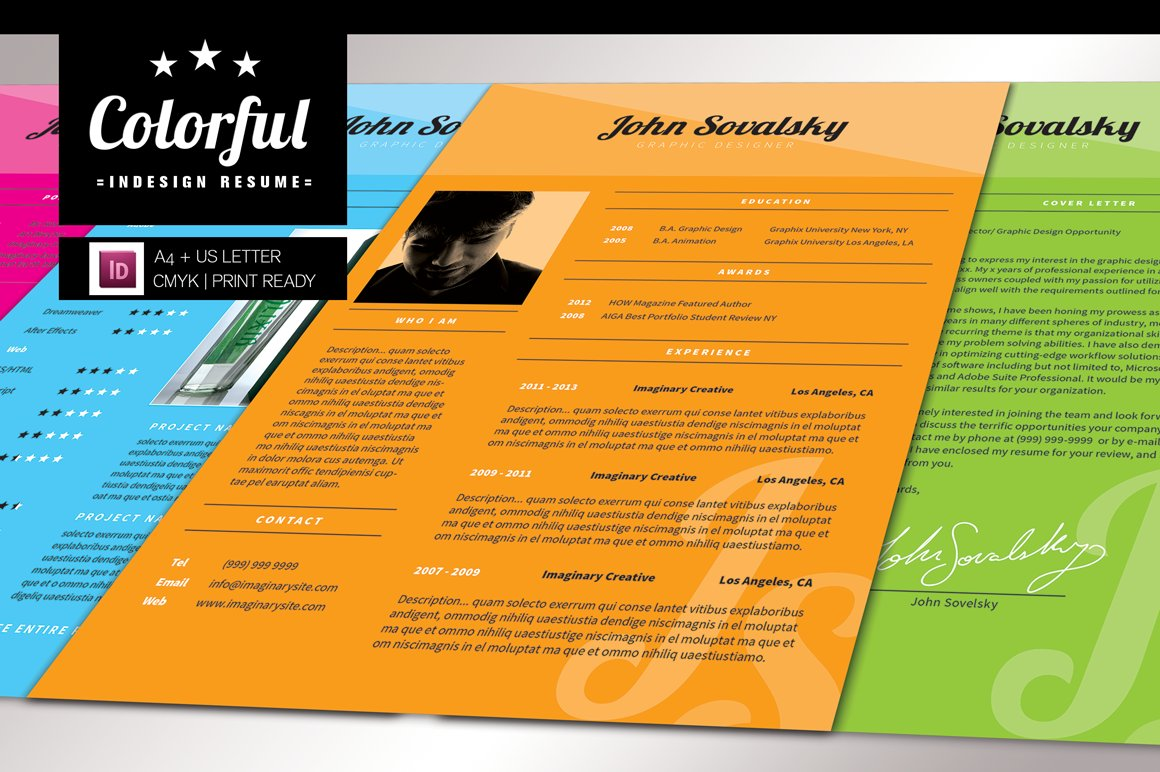 Colorful indesign resume resume templates creative market for Colorful resume templates