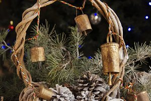Christmas card with fir branches and decoration