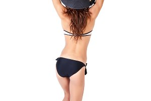 woman in bikini with hat in white isolated background