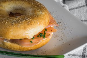 with a smoked salmon bagel