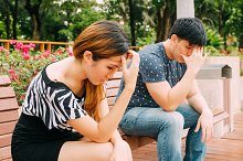 Asian couple having stress - love and relationship conflict concept