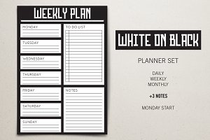Planner Set - White on Black