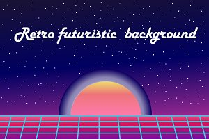 set retro futuristic Background