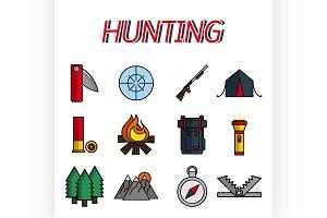Hunting flat icons set