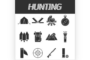 Hunting icons set