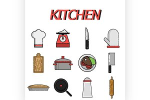 Kitchen flat icon set