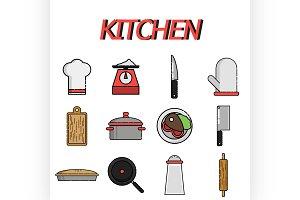 Kitchen flat icon set