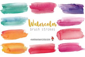 Watercolor brush strokes clip art
