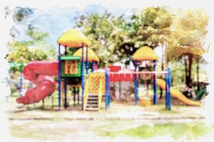 watercolor of playground.