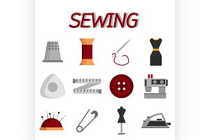 Sewing flat icon set