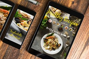 Tablet and mobile healthy recipes bl