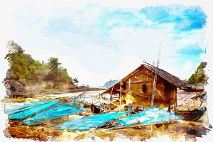 watercolor seascape of Dawei Myanmar