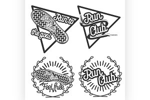 Vintage run club emblems
