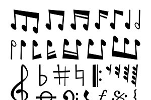 Music note black silhouette vector