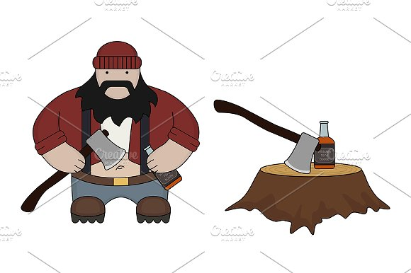 Funny fat lumberjack. Vector - Illustrations
