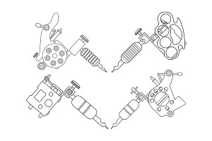 Tattoo machines set. Vector