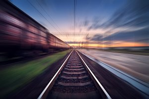 Railway station. Motion blur effect