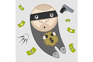 Thief with bag full of money. Vector
