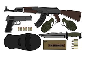 Military weapon pack. Vector