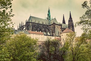 Architecture of Prague. Vintage.