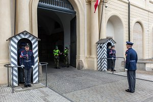 Changing the guards, Prague Castle.