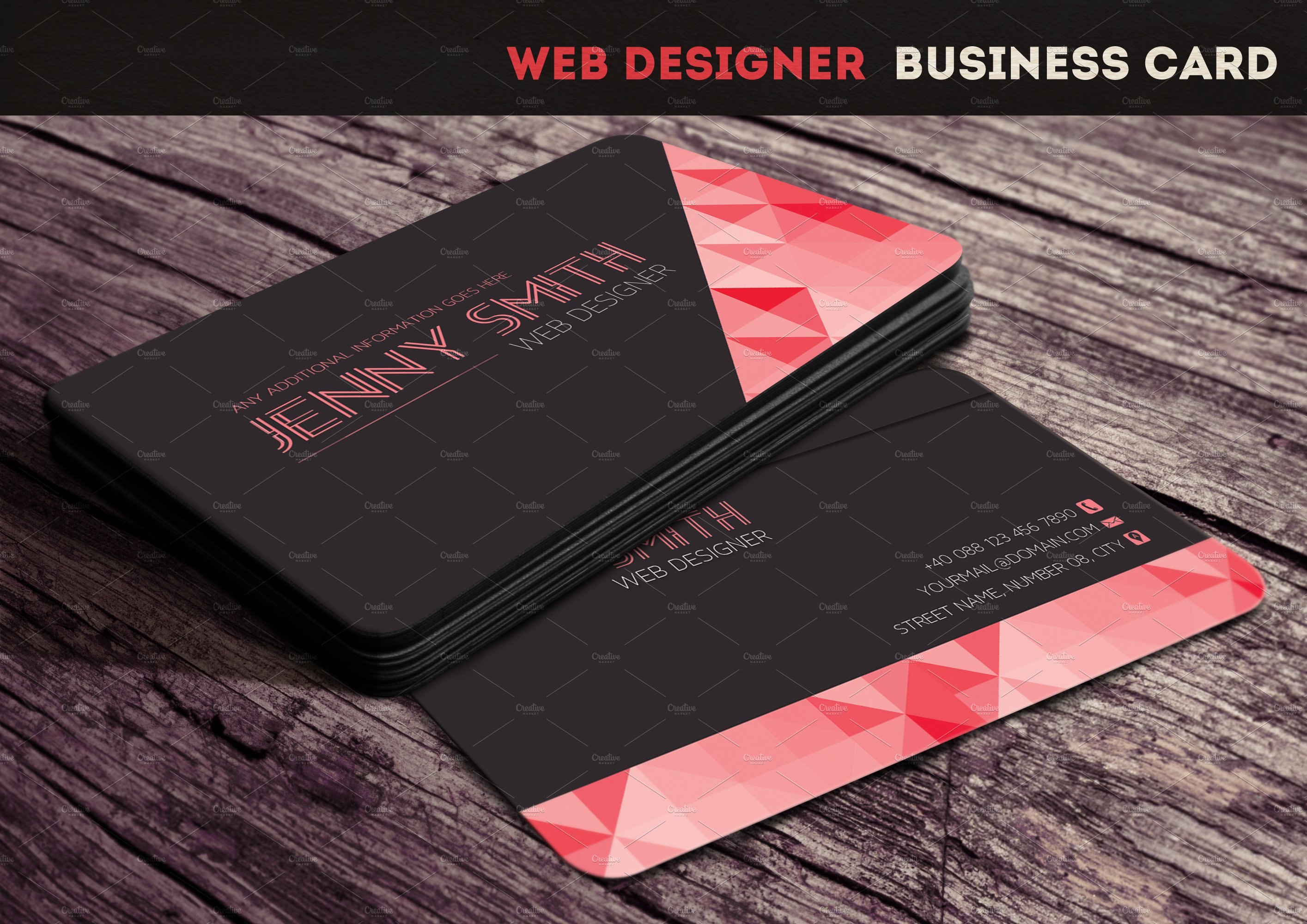 Web designer business card business card templates creative market reheart Images