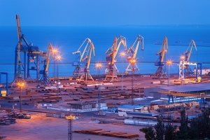 Sea commercial port at night