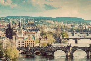 Architecture of Prague. Vintage.